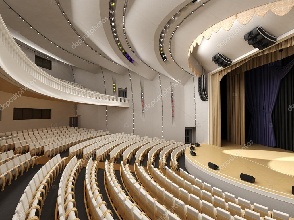 Interior of the modern theater built in 3d stock photo for Interior design moderno
