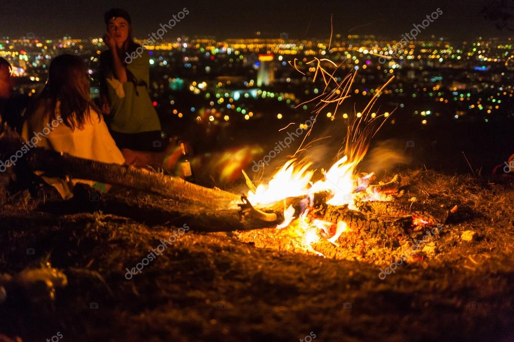 Bonfire in a camp in the mountains