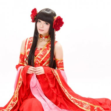 Asia Chinese girl in red traditional dress dancer