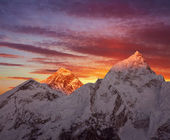 Mount Everest (8848 m) at sunset.