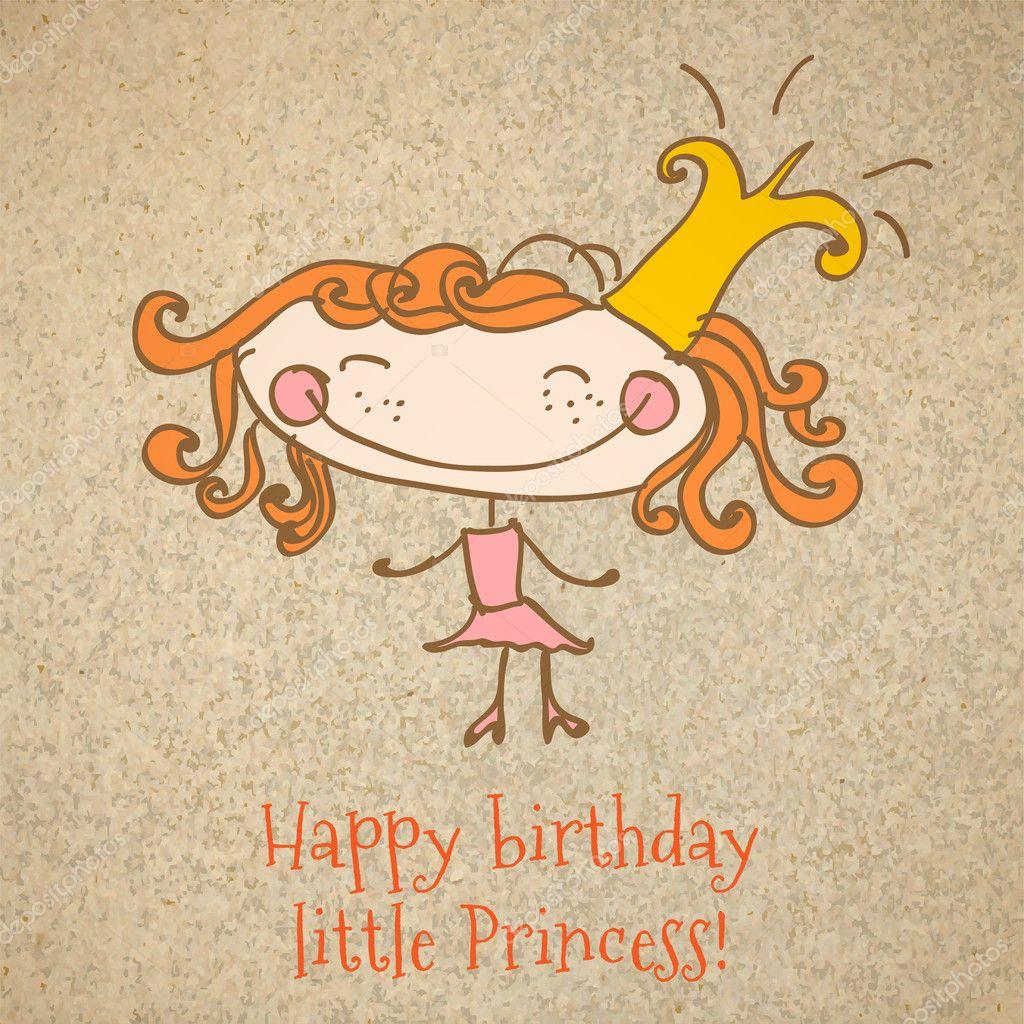 Happy Birthday Girl Illustration ~ Birthday card with a girl princess happy vector art illustration stock
