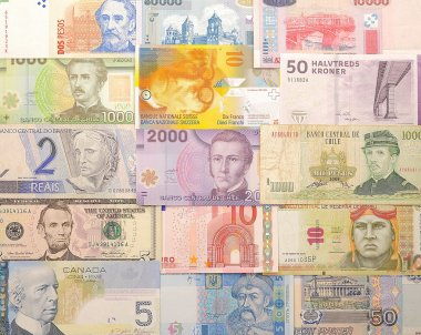 Banknotes from different countries.