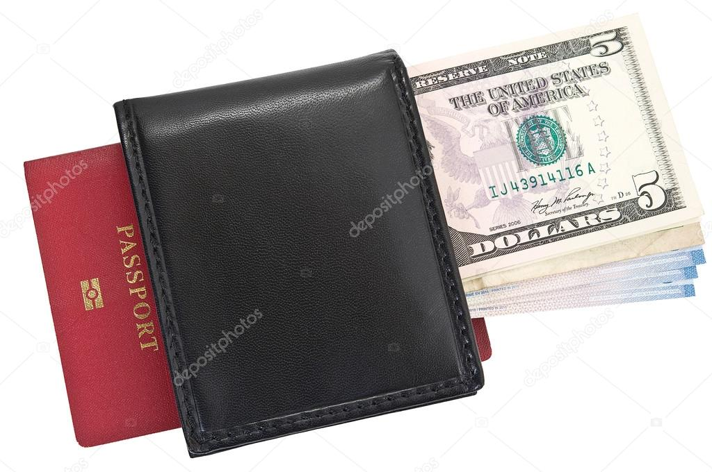 Portemonnee Paspoort.Geld In De Portemonnee En Paspoort Stockfoto C Serjio74b 42928539