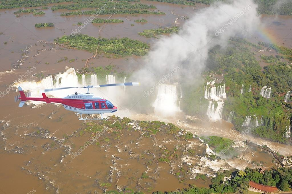Helicopter flight above Iguazu falls.