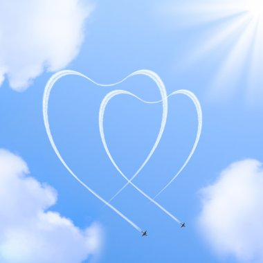 Two hearts shapes in the sky made from the planes traces. stock vector