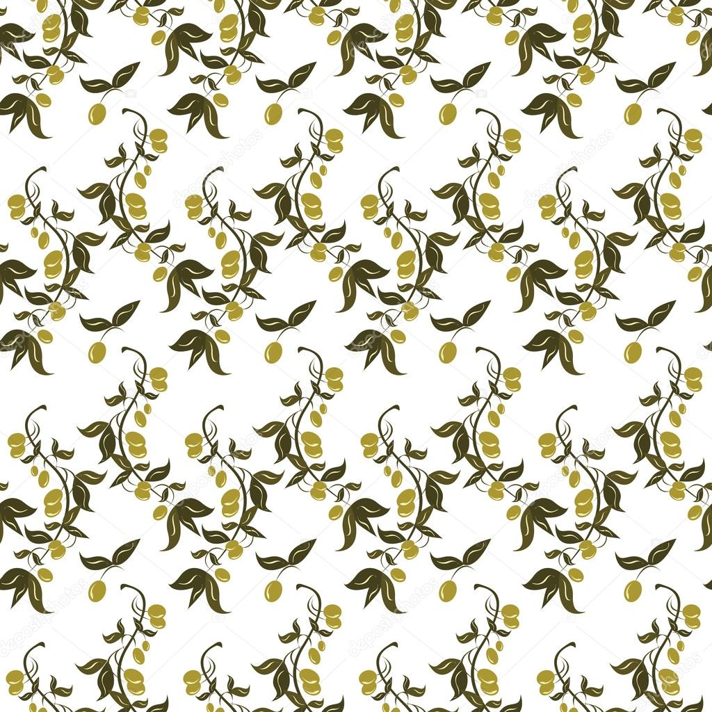 Seamless patterns made from branches of green olives.