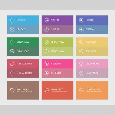 Buttons, flat user interface design