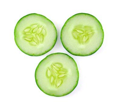 Fresh sliced cucumber on white background