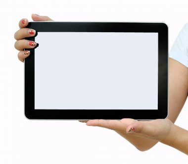 Hand female to hold card, tablet PC