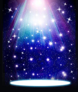 stars are falling on the background of blue luminous rays.