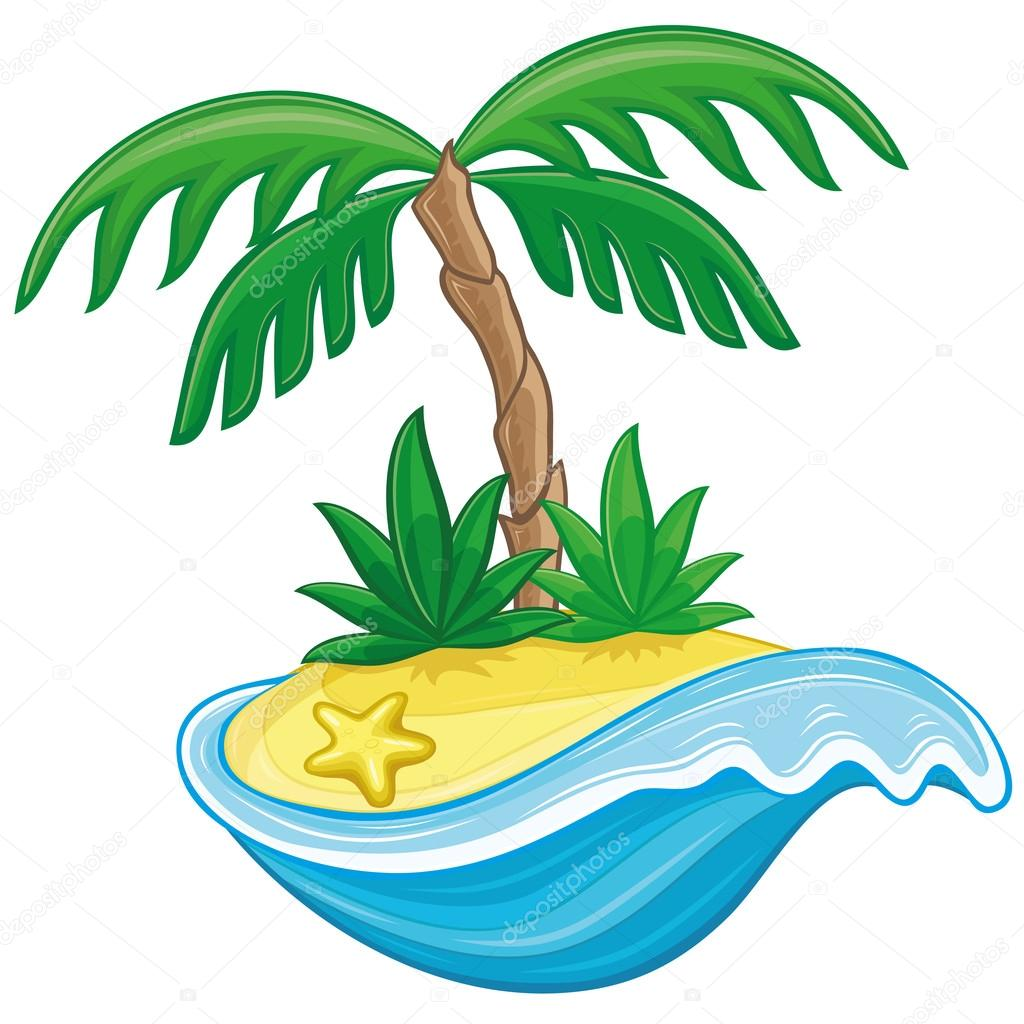 Vector illustration. Cartoon island.