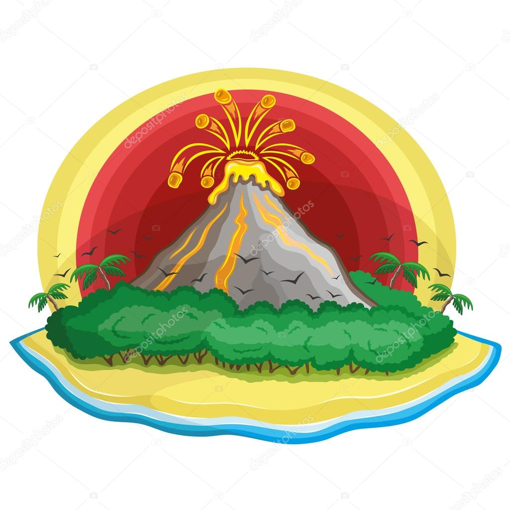 Cartoon tropical volcano.