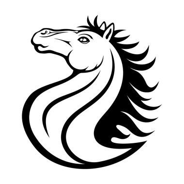 Black sign. Horse.