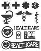 Fotografie medizinische Symbole, isoliert auf weiss
