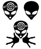 Photo Alien icons on white.