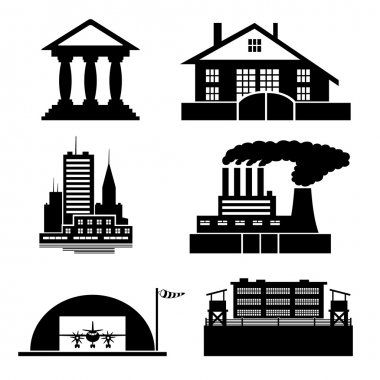 Building icons on white.
