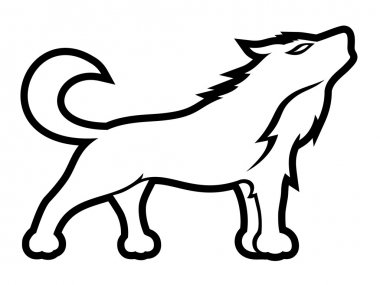 Howling wolf on white.