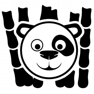Panda sign on white.
