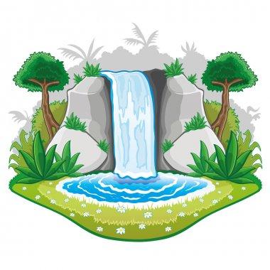 Illustration of cartoon waterfall.