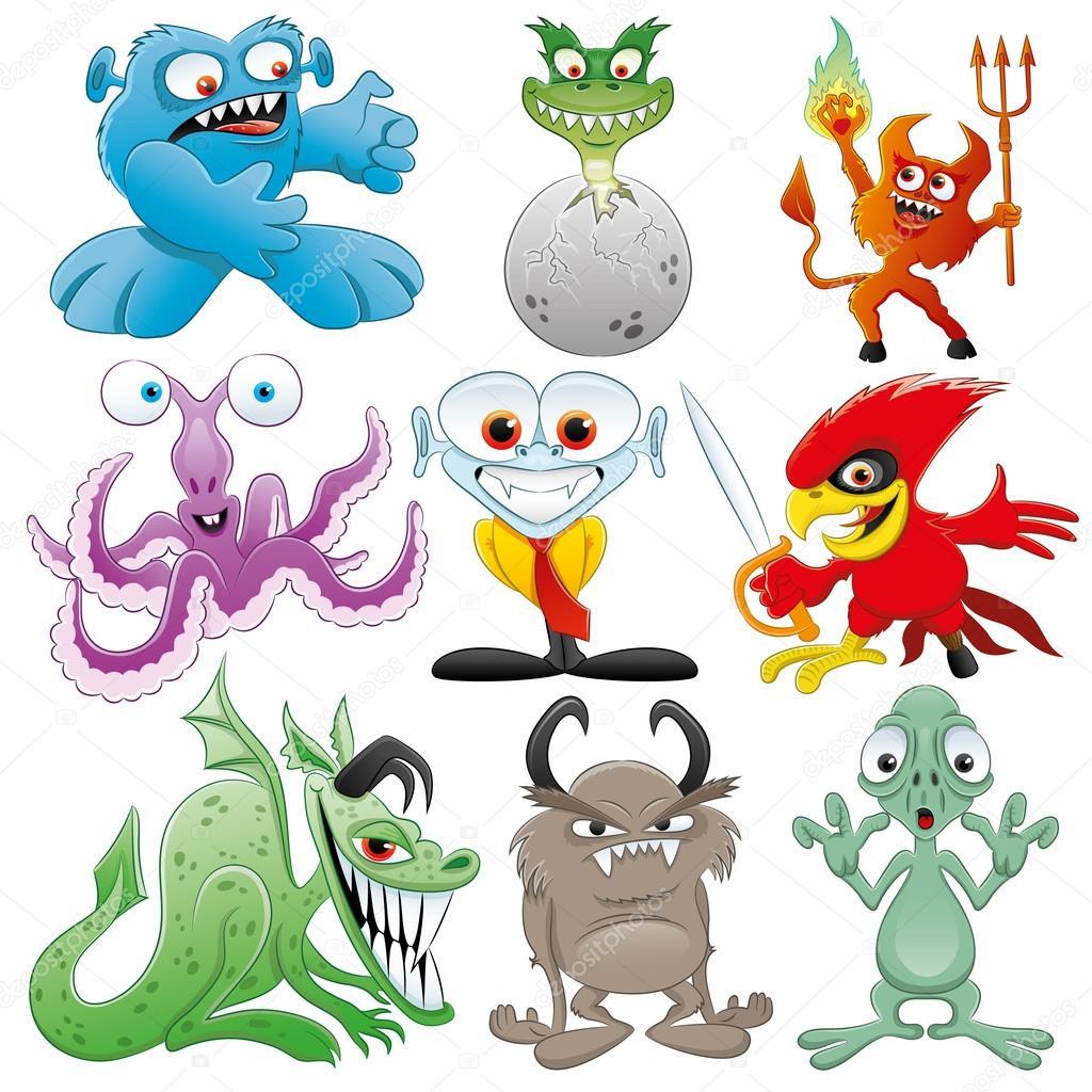 Cartoon monster set.