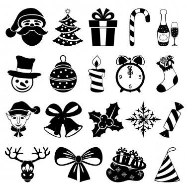 Christmas icons on white.