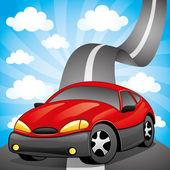 červené auto na silnici