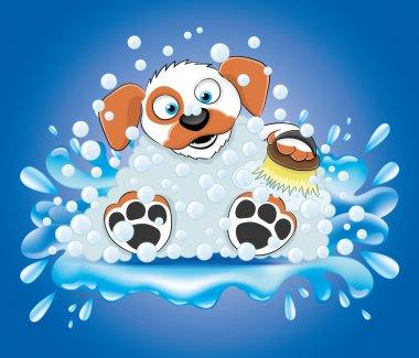 Vector illustration. Bathing dog.