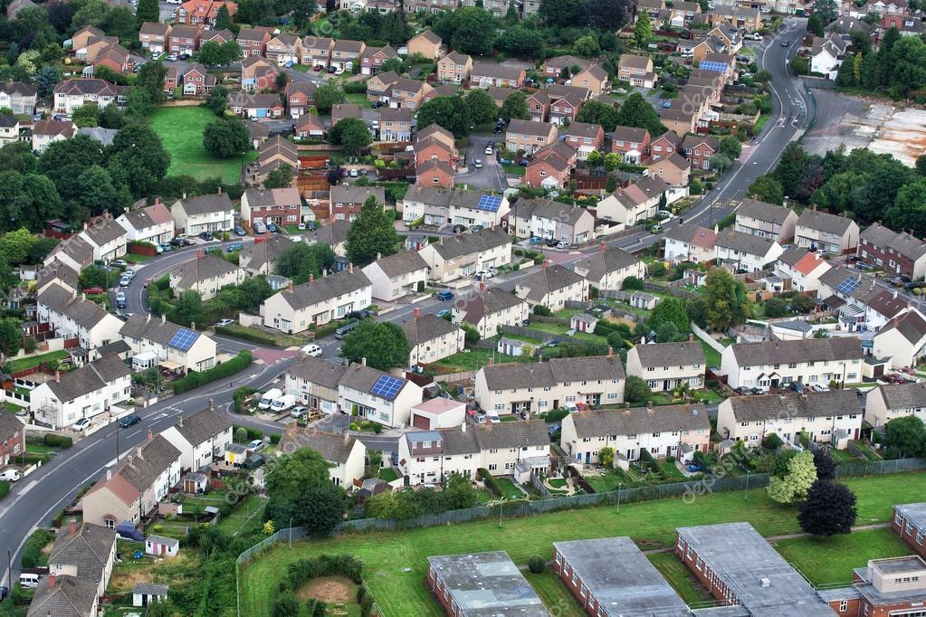 Aerial views of houses