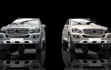 Metallic Big Cars On Black Background