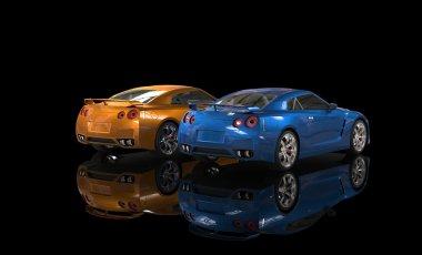 Blue and orange metallic cars on black background back shot