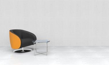 Yellow black armchair in empty room
