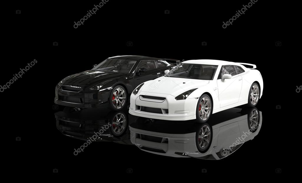 Images Cool Black And White Cool Black And White Cars On Reflective Background Stock Photo C Svitac 49904905