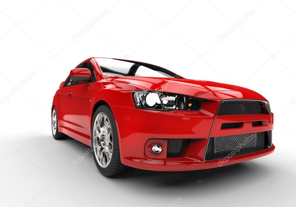 Red Race Car Side View Front Close Up Stock Editorial Photo