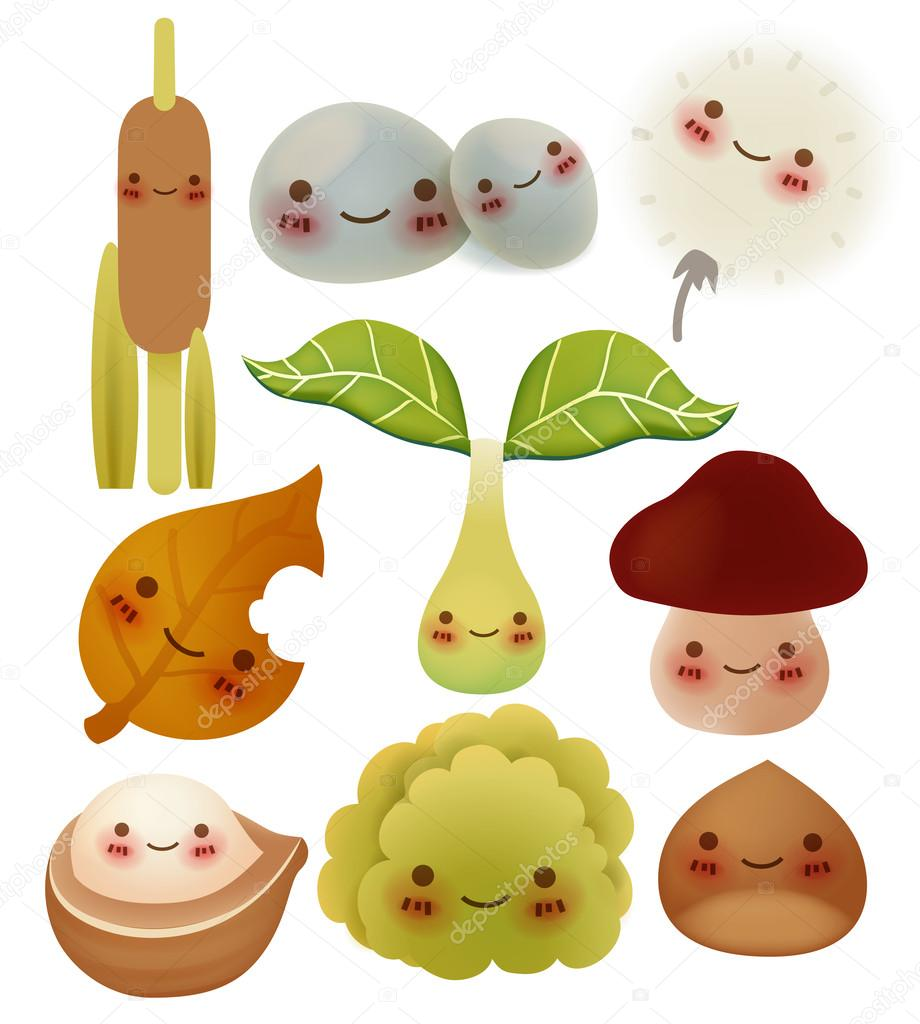 Collection of cute forest item