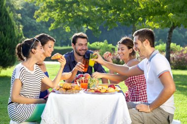 Friends enjoying a relaxing picnic sitting together laughing and chatting at a table in a lush green park stock vector