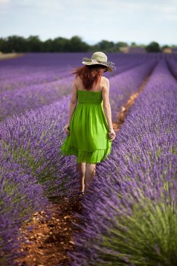 Woman in field of lavender