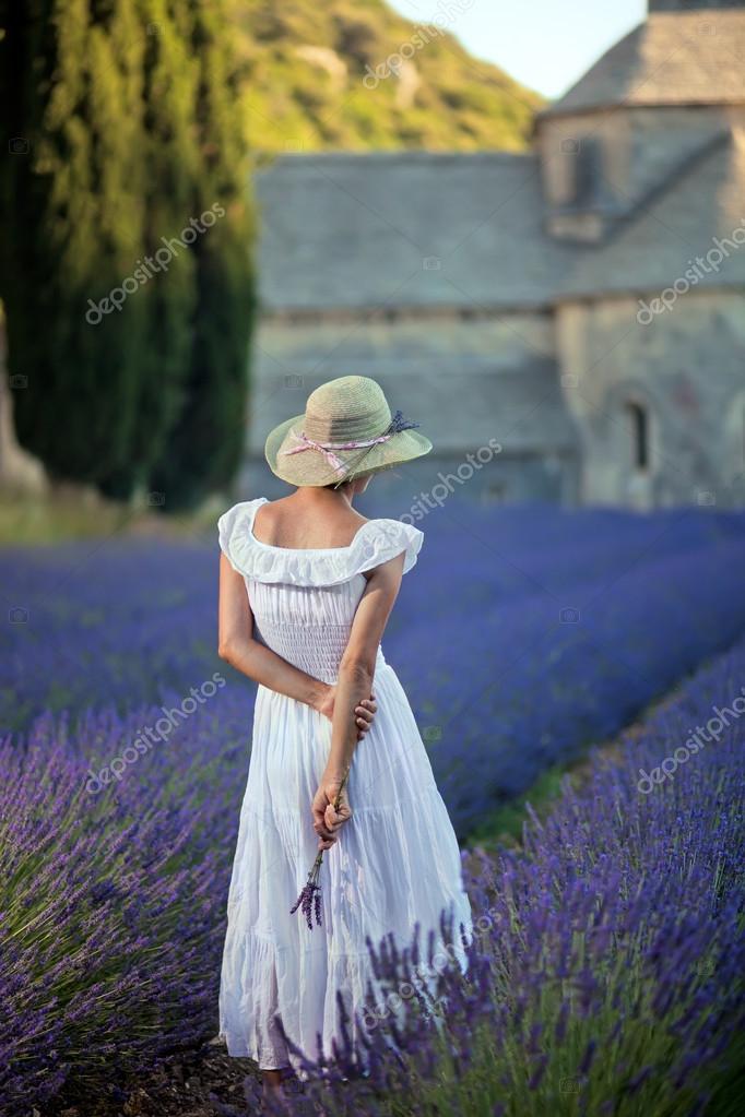 Woman picking lavender