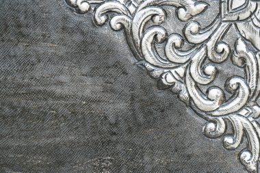 Material wall and ancient tile Thai silver pattern Crafts world.