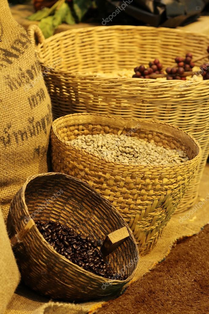 coffee bean in basket, Thailand