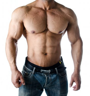 Muscular torso, pecs, abs and arms of male bodybuilder