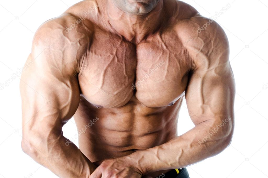 Muscular Torso And Arms Of Male Bodybuilder Stock Photo