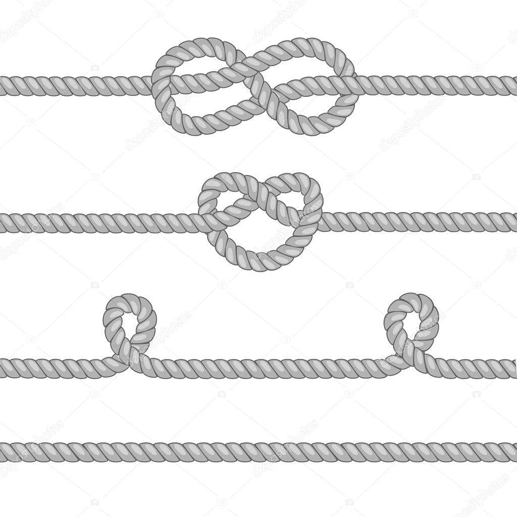 Set of ropes with knots.