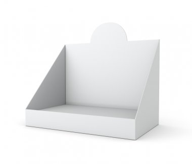 Blank empty holder or box display for products isolated on white. 3d render stock vector