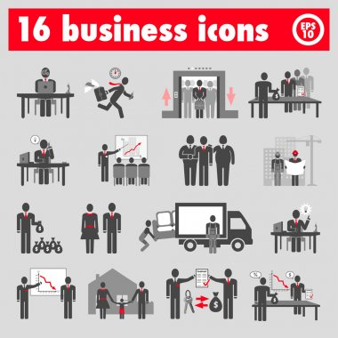 Sixteen business icons