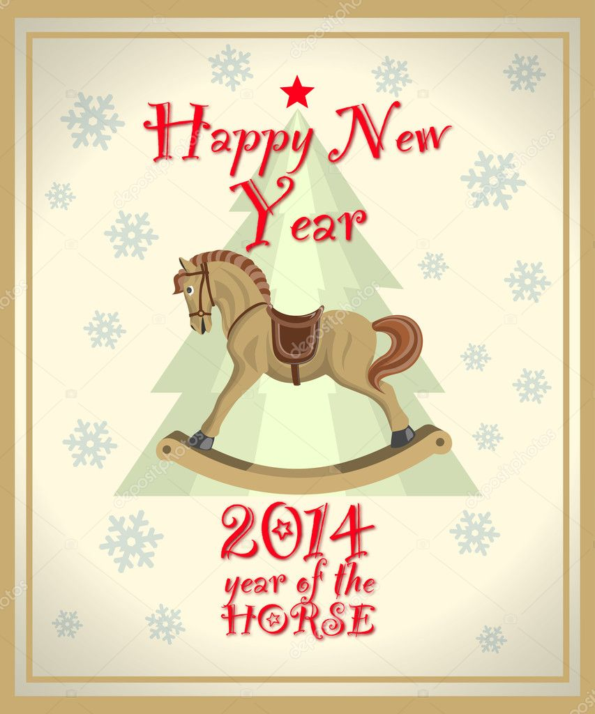 vintage new year card with christmas tree and rocking horse stock