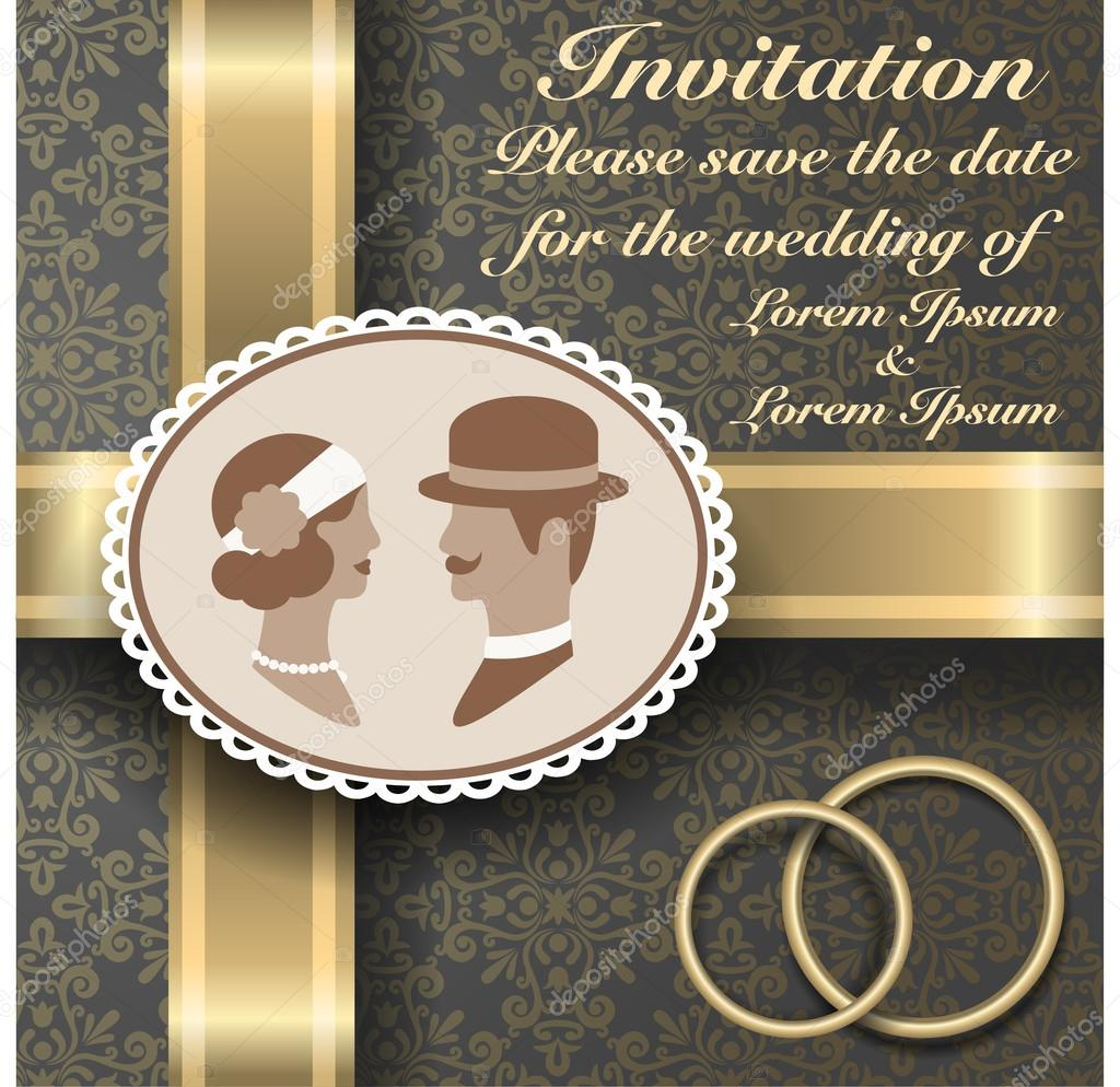 Vintage wedding invitation with gold ribbons and vintage – Brown and Gold Wedding Invitations