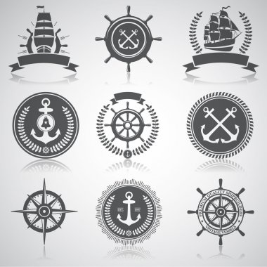 Set of nautical emblems, labels and esignaed elements, 5