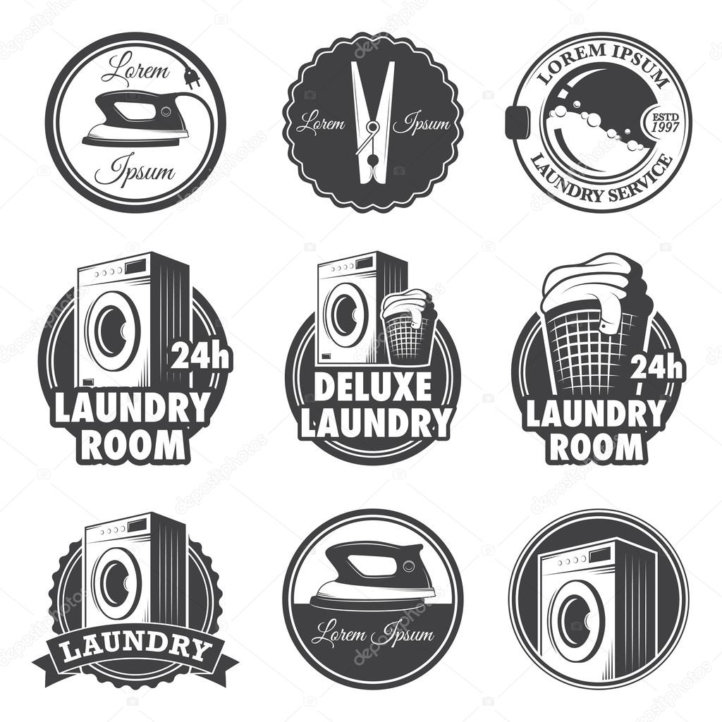 Set Of Vintage Laundry Emblems Labels And Designed Elements Royalty Free Stock Vectors