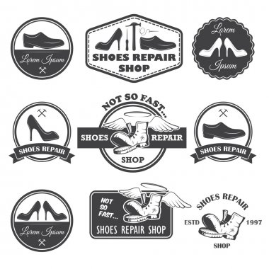 Set of vintage shoes repair labels, emblems and designed element