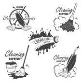 Fényképek takarítási szolgáltatás emblémák, feliratok és tervezett elemek
